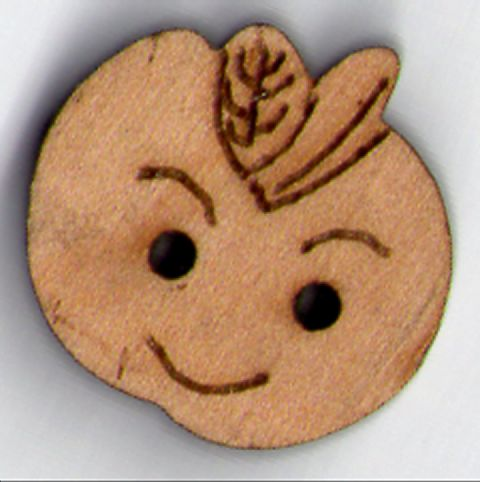 Wooden Apple Button